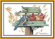 "Cleana Arts Printed Cross Stitch kits,Birds'love nest,11CT Counted,20""×15"""
