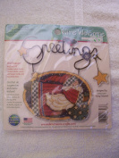 Santa Greeting Counted Cross Stitch Wire Welcome Kit