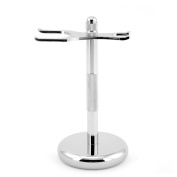 Men's Deluxe Alloy Razor and Brush Stand Shaving Accessory Holder to Prolong the Life of your Brush and Razor