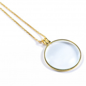 PROW® Golden 4.4cm Optical 8X Pendant Necklace Magnifier Magnifying Glass Loupe for Reading Fine Print, Zooming, Increase Vision and Jewellery Inspection