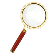 PROW® Golden Classic Design Handheld 80mm 8X Loupes Magnifier Magnifying Glass for Help the Old Man Clearly Reading Low Vision Inspection Craft Jewellery