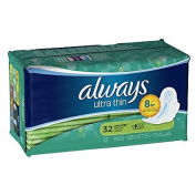 Always Ultra Thin Pads with Wings, Long Unscented, Super