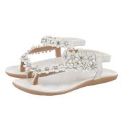 . Women Sandals,Canserin Women's Fashion Summer Bohemia Sweet Beaded Sandals Clip Toe Sandals Beach Shoes Herringbone Sandals Shoes (4.5