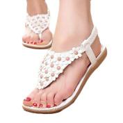 . Women Sandals,Canserin Women's Fashion Summer Bohemia Sweet Beaded Sandals Clip Toe Sandals Beach Shoes Herringbone Sandals Shoes (5.5 B