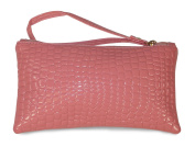 Pink Faux Alligator Print Cosmetic Makeup Bag
