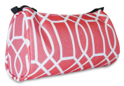 Ever Moda PInk Coral Geometric Print Cosmetic Makeup Bag