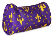 Ever Moda Purple Gold Fleur de Lis Cosmetic Makeup Bag