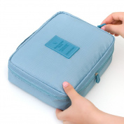 Huluwa Toiletry Bag, Multifunction Cosmetic Bag, Portable Makeup Pouch Waterproof Travel Hanging Organiser Bag, Light Blue