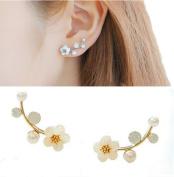 1Pair Women's Elegant Pearl Flower Stud Earring
