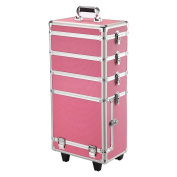 go2buy Multi-functional Rolling 4 in 1 Aluminium Makeup Case Beauty Cosmetic Organiser Box Trolley Pink