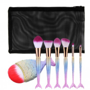 Toraway 7PCS/Set Fish Scale MakUp Foundation Eyebrow Eyeliner Blush Cosmetic Concealer Brushes Set