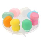 8 Hole Oval Puff Blender Sponge Holder Set by Sinsun, Including 4 Gourd Shaped Blender Sponges 4 Beauty Heart Shaped Sponge Powder Puffs for Makeup, Removing Cosmetics ,Cleaning