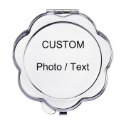 Make Your Own Mirror--Personalised Compact Makeup Mirror with Photo & Text,Stainless Steel Pocket Mini Personal Travel Mirror,Customised Birthday/Valentines Day/Christmas Gift for Girls,Women,Flower
