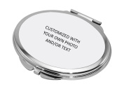 Make Your Own Mirror--Personalised Compact Makeup Mirror with Photo & Text, Stainless Steel Pocket Mini Personal Travel Mirror,Customised Birthday/Valentines Day/Christmas Gift for Girls,Women,Oval