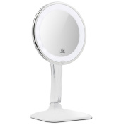 Terresa 10X Magnifying Lighted Makeup Mirror with Acrylic Stand - Lightweight and Round Ring Light - 360 Degree Rotation Desktop Vanity Mirror with Lights