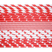 Kearui Paper Drinking Straws for Birthdays, Weddings, Christmas, Celebrations and Parties, Red, 150 Pieces