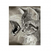 Diamondo Cat Butterfly Cross Stitch 5D Diamond DIY Painting Kit Home Wall Craft