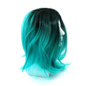 Rurah Fashion Blue Bob Wig With Grey Roots Premium Short Straight Synthetic Wig, Blue+Deep Green