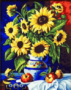 DIY Oil Painting for Adults Kids Paint By Number Kit Digital Oil Painting Van Gogh Sunflowers-Warm sunflower 41cm x 50cm