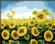 DIY Oil Painting for Adults Kids Paint By Number Kit Digital Oil Painting Blooming Sunflower 41cm x 50cm