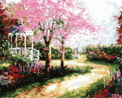 DIY Oil Painting for Adults Kids Paint By Number Kit Digital Oil Painting Dream Trail Dream house by Thomas Kinkade landscape 41cm x 50cm