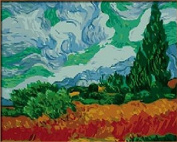 DIY Oil Painting for Adults Kids Paint By Number Kit Digital Oil Painting Wheatfield with Cypresses by Vincent van Gogh 41cm x 50cm