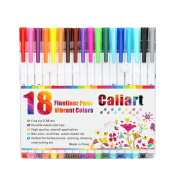 Caliart 18 Fineliner Colour Pen Set, 0.38 mm Coloured Fine Line Drawing Pen, Porous Fine Point Marker Pens for Bullet Journal Colouring Book and Art Projects