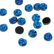 300pcs Druzy Resin Cabochons, Half Round, DarkTurquoise, 12x5mm