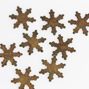 Group of 32 Primitive Rusty Tin Miniature Snowflake Cutouts for Displaying, Crafting and Creating