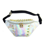 Orfila Fanny Pack PVC Transparent Laser Waterproof Waist Pack for Concert or Rave, Reflective