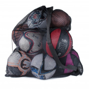Sports Ball Bag Drawstring Mesh - Extra Large Professional Equipment with Shoulder Strap Black (80cm x 100cm Inches) by Super Z Outlet