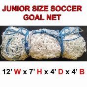 ONE WHITE JUNIOR SIZE 3.7m x 2.1m x 1.2m x 1.2m SOCCER GOAL NET NETTING