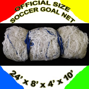 ONE WHITE OFFICIAL SIZE 7.3m x 2.4m x 1.2m x 3m SOCCER GOAL NET NETTING