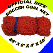 ONE OFFICIAL SIZE SOCCER GOAL NET NETTING 7.3m x 2.4m x 1.2m x 3m