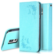 Galaxy S5 Mini Case,PHEZEN Floral Butterfly Pattern PU Leather Flip Wallet Case Cover with Card Holders & Hand Strap for Samsung Galaxy S5 Mini, Green