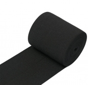 RERIVER 7.6cm Wide Black Heavy Knit Stretch ELASTIC 5 Yards