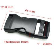"10pcs Flat Side Release Mini Buckles for Paracord Bracelet Black (1"""