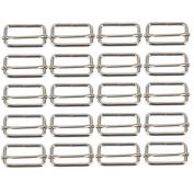 Metal Sliding Bar Tri-glides Silver Buckles Slider 38mm Width Strap Adjuster Pack Of 20