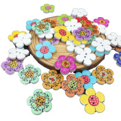 Fabal Mixed Colour Wooden Flowers Sewing Buttons Scrapbooking Decorations 2-Holes 20mm