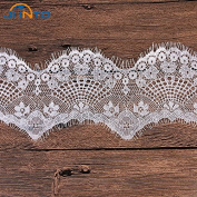 9cm Wide 6M Black/White Mesh Lace Fabric Lace Trim Eyelash Lace Embroidered Lace Ribbon Sewing Accessories