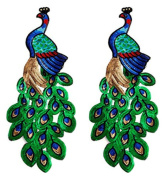 Ancefine 2pcs Sequins Peacock Patch Sew on Embroidered Applique for Clothes