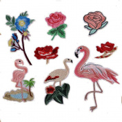 8pcs/lot Cloth Patches Garment Applique DIY Decoration Accessories Iron On Embroidered Flamingo Rose Flower Patch Set
