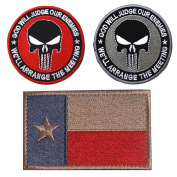 Embroidery TEXAS State Flag and Punisher Tactical patches