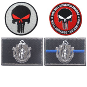Embroidery USA MASSACHUSETTS State Flag and Punisher Tactical patches