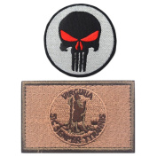 Embroidery USA VIRGINIA State Flag and Punisher Tactical patches