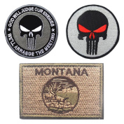 Embroidery USA MONTANA State Flag and Punisher Tactical patches