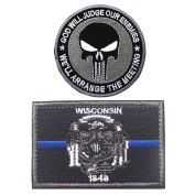 Embroidery USA WISCONSIN State Flag and Punisher Tactical patches