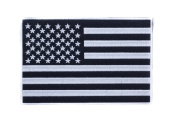 U.S Flag Black w/ White 19cm x 13cm Iron On Centre Patch for Motorcycle Rider or Bikers Veteran Vest