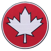 Maple Leaf Red w/ White 25cm Iron On Centre Patch for Motorcycle Rider or Bikers Veteran Vest