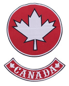 Maple Leaf w/ CANADA BR Red w/ White 20cm Iron On Centre Patch for Motorcycle Rider or Bikers Veteran Vest